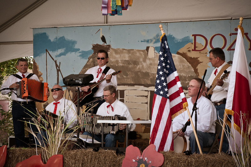 """Polska Kapela"" playing for the 2012 ""Dozynki"" festival at Our Lady of Czestochowa Catholic Church in Houston, Texas with CJ Jozwiak, Frank Motley, Charlie Brossman, Dr. Jim Mazurkiewicz, James Mazurkiewicz and Mark Hopcus."