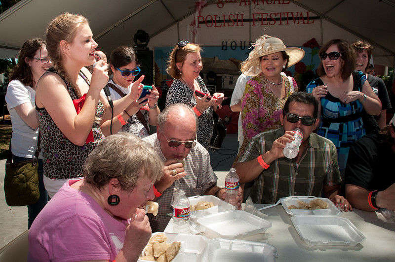 Yessica Krozel and Christian Piorkowski host the pierogi eating contest