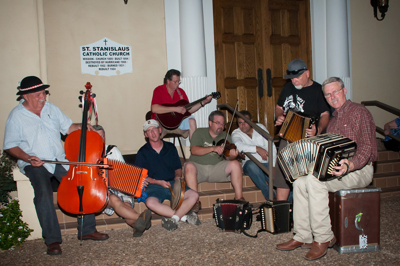 Polish music jam session on the front steps of St. Stanislaus Catholic Church