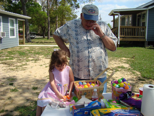 Payton and Grandpa count her loot