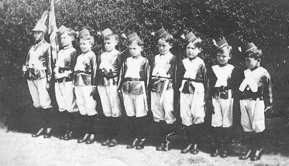 """<font size=3><u> - """"Soldier-boys"""" at a benson carnival - </u></font> (BS0099) Natalie Dancer writes """"This is the Boys Brigade. My Grandfather, Roy William Dancer is third on the right."""""""