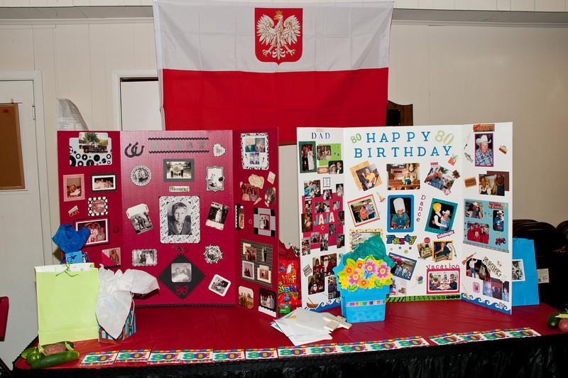 Polish flag hangs over photo display