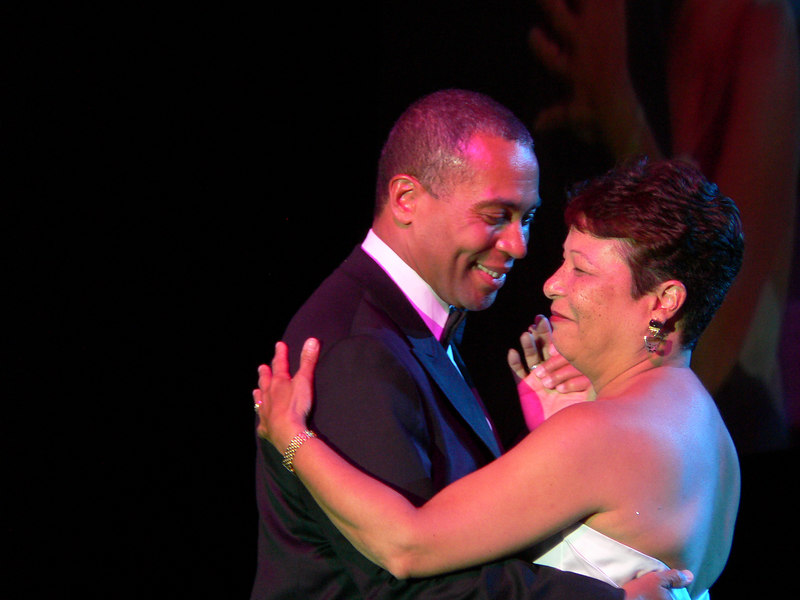 His first evening as governor: Deval Patrick dances with wife Diane at the inaugural celebration in Boston