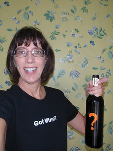 """Jenny with gifts from Lisa' :  Wine and shirt and """"W magazine"""" subscription"""