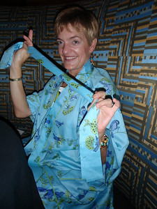 Lisa' modelling her gift from Jenny:  Bluebird robe