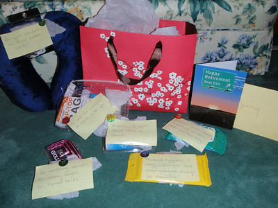 Retirement goody bag from Suzanne with lots of comfort items for travelling.