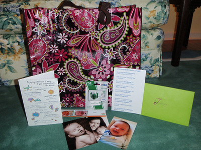 Gift bag from Bob King with photos of his grandson Hayes, a card with special insert (customized for Jenny) and a $50 gift card