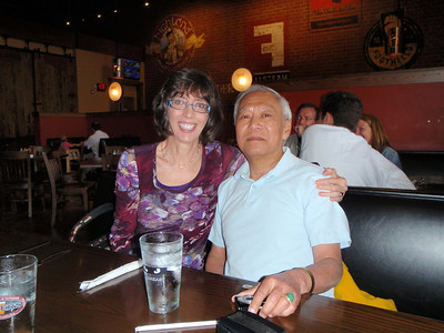05/20/13: Jenny with Dr. Lewis Lum (L2) at Tyler's in Raleigh.  He is/was Jenny's favorite math professor at Salem College 1974 - 1978 and now teaches at Univ of Portland, OR.