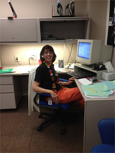 Jenny in her office on a conference call (as usual!) on Wednesday before Friday retirement