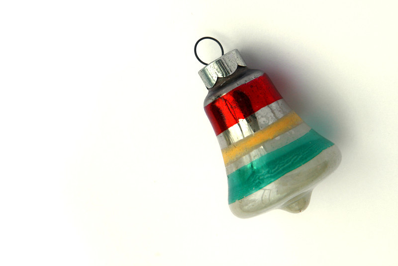 Antique bell glass Christmas ornament. Love the stripes.