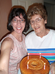 Jenny and Mom and birthday cake (self-portrait!)