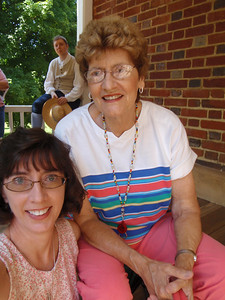 Mom and Jenny on Tavern porch listening to reading (self-portrait!)