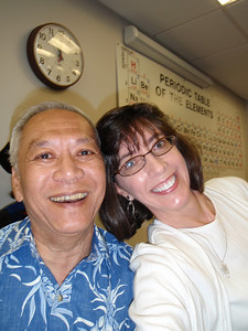 Dr. Lewis Lum and me (self-portrait!) in the Salem College Science Building after graduation ceremonies