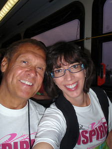 Dennis and Jenny on the bus at 6AM from the PNC Arena to the race site.