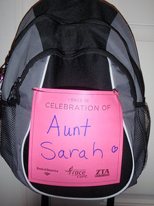 Backpack to carry our water and stuff....adorned with love for Aunt Sarah!