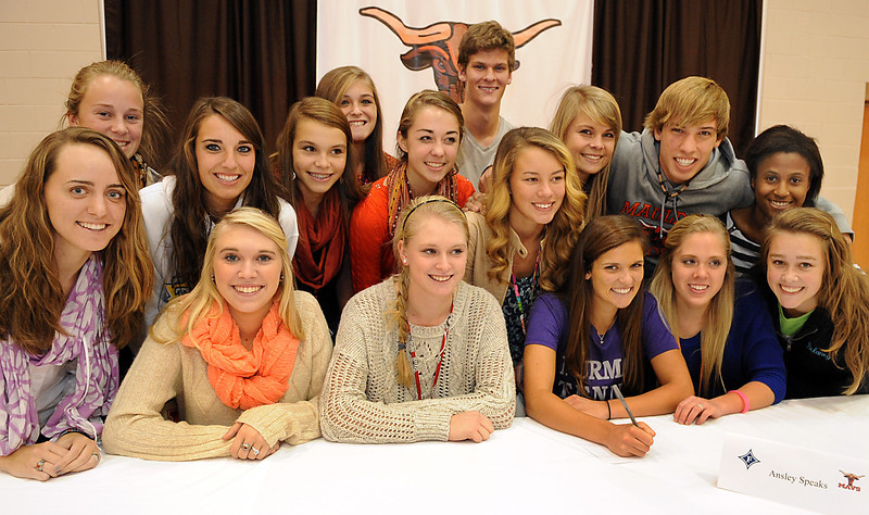 Mauldin Athletic Director Steve Frady and Mauldin High School introduced seven student-athletes and their families as they signed National Letters of Intent. Softball standout Brianna Davis signed a letter to College of Charleston, swimmer Danielle Galyer signed a letter to University of Kentucky, golfer Laura Maurer signed a letter to Columbia College, tennis player Ansley Speaks signed a letter to Furman University, baseball player Ramon Osuno signed a letter to College of Charleston, baseball player Corey Thompson signed a letter to the University of South Carolina and basketball player Kentra Washington signed a letter to Wofford College.<br /> GWINN DAVIS PHOTOS<br /> gwinndavisphotos.com (website)<br /> (864) 915-0411 (cell)<br /> gwinndavis@gmail.com  (e-mail) <br /> Gwinn Davis (FaceBook)