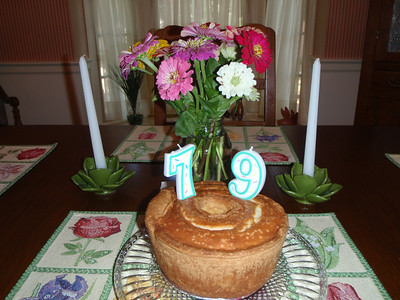 The official 5-flavor pound cake made by Shirley with flowers from the Farmer's Market