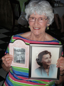 Jenny brought pictures of Mom from her younger days to share with the guests.