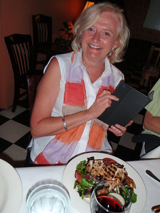 Renee with her salad topped by grilled chicken.