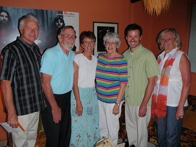 Steve Eaton, Wayne and Becky Linville, Mom, Kevin Benson, and Renee Teague at the Diamondback before dinner.