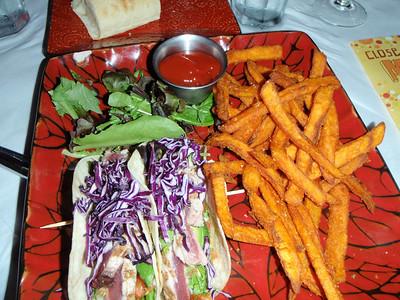 Jenny's ahi tuna tacos with sweet potato fries!