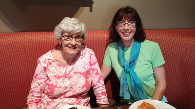 Mom and me having birthday lunch at Bleu restaurant in Winston-Salem