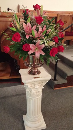 Altar flowers placed in the church as surprise from Steve Eaton and Kevin Benson in honor of Betty's and Jenny's birthday