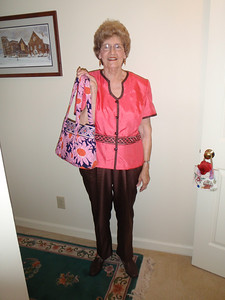 Mom with her new Vera Bradley purse (Mother's Day gift from Charleston vacation)