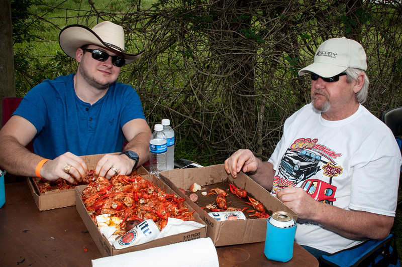Eating lots of good crawfish on a beautiful spring day