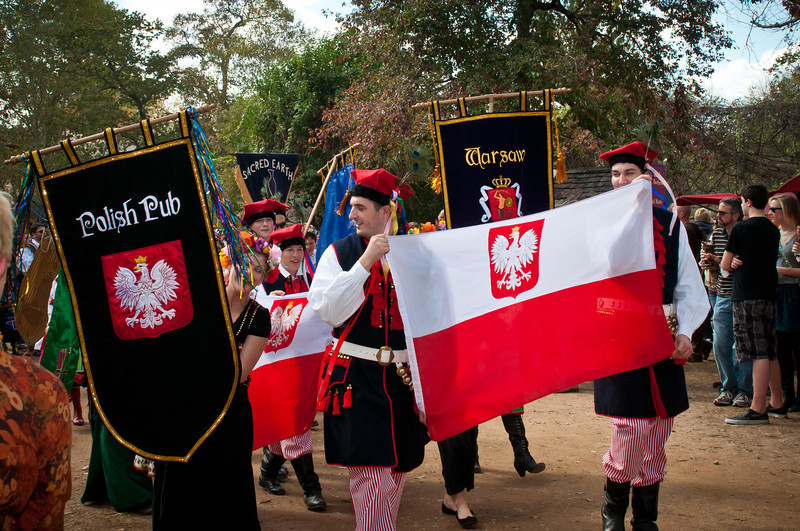 Polish flags and banners in the Texas Renaissance Festival parade