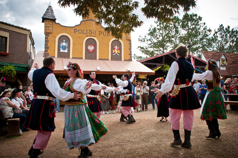 Polish Dance Group Wawel in front of the Polish Pub at the Texas Renaissance Festival.