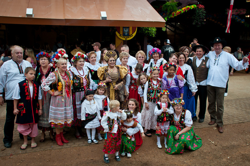 Polish group in front of the Polish Pub at the Texas Renaissance Festival.