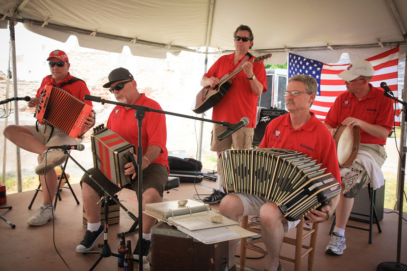 """Polska Kapela"" playing for ""Polskie Dzien"" Polish Days in Bremond, Texas on June 22,2013 with CJ Jozwiak, Frank Motley, Charlie Brossman, Dr. Jim Mazurkiewicz and James Mazurkiewicz. (Mark Hopcus not pictured)"