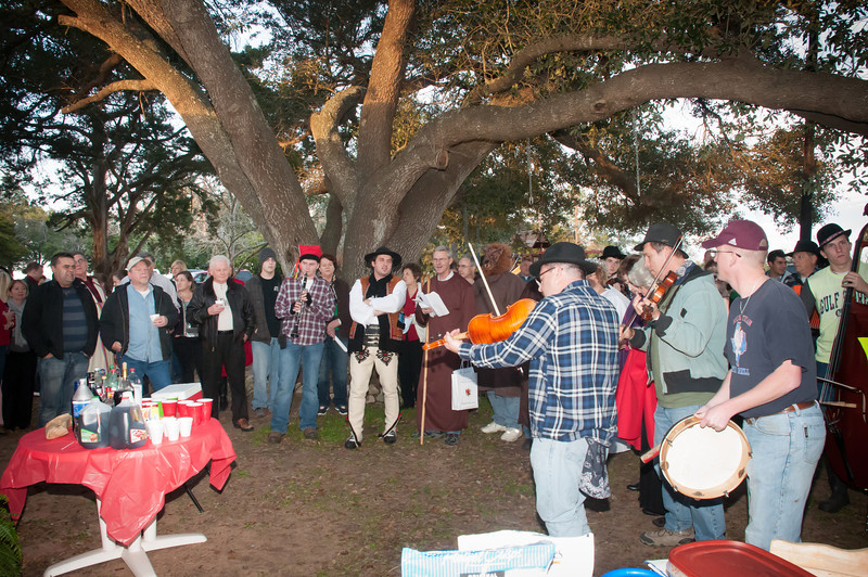 Singing under the big oak tree at the Faterkowski home