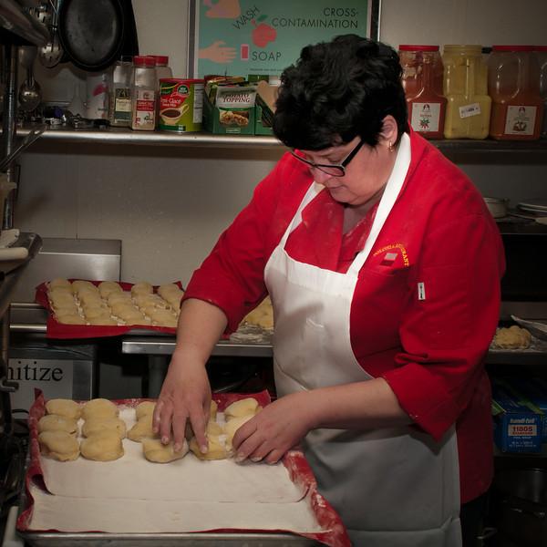 Mariola Wosiak forming the dough