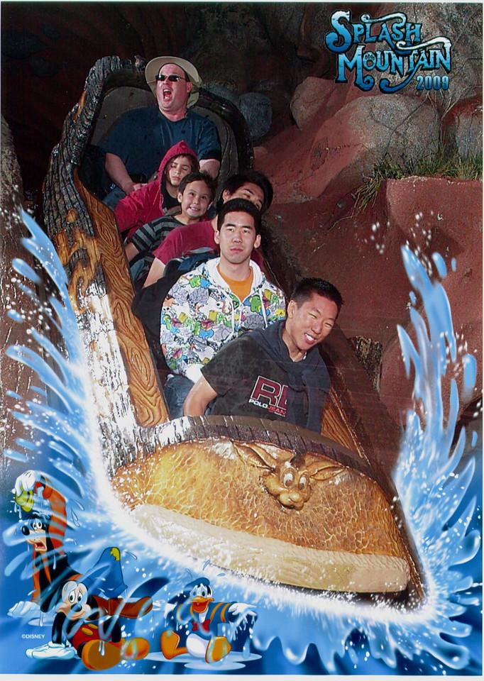 Jackson, Brandon and Max do the big drop on Splash Mountain, 3-13-09.