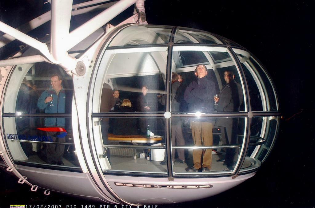 London Eye Capsule, Sipping Champagne with Classmates from Toyota Great Britain and other European Distributors, 2/17/2003
