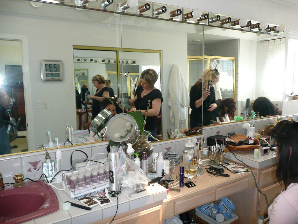 Susan doing the girls hair and makeup