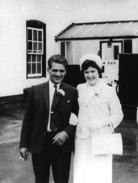 <font size=3><u> - Amy Beal's Wedding -  </u></font> (BS0233)  Amy Beal married Joe Gibbons.  Walter Field, seen here with the bride, was best man at the wedding.