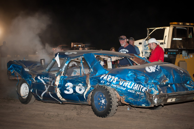 Johnny Patke in car #36 limps out of the arena after the derby.