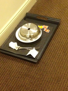 A sure sign that you partied into the wee hours, hotel neighbour has finished their breakfast already.