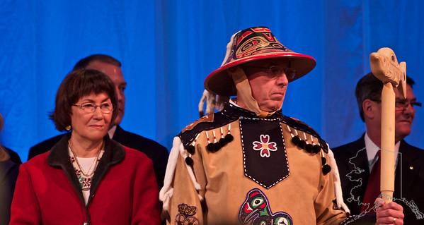 "Lt. Gov. Byron Mallott and His Wife Antoinette ""Toni"" Mallott. Mr. Mallott is wearing his traditional Tlingit regalia."