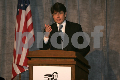 Governor Rod Blagojevich speaks as Archbishop Desmond Tutu receives the Abraham Lincoln Presidential Library Foundation's Lincoln Leadership Prize, presented by Oprah Winfrey, at the Ritz Carlton in Chicago, IL, 13 May, 2008