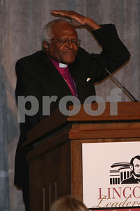 Archbishop Desmond Tutu receives the Abraham Lincoln Presidential Library Foundation's Lincoln Leadership Prize, presented by Oprah Winfrey, at the Ritz Carlton in Chicago, IL, 13 May, 2008