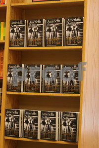 Oscar De La Hoya signs copies of his latest book American Son at Borders Bookstore in downtown Chicago on June 30, 2008. Here is a bookshelf stocked with copies of the book.Alexandra Buxbaum/Retna