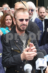 """Ringo Starr celebrates his 68th birthday with a """"Peace and Love Moment"""" in front of the Hard Rock Hotel on Michigan Avenue in Chicago, IL, 07 July, 2008"""
