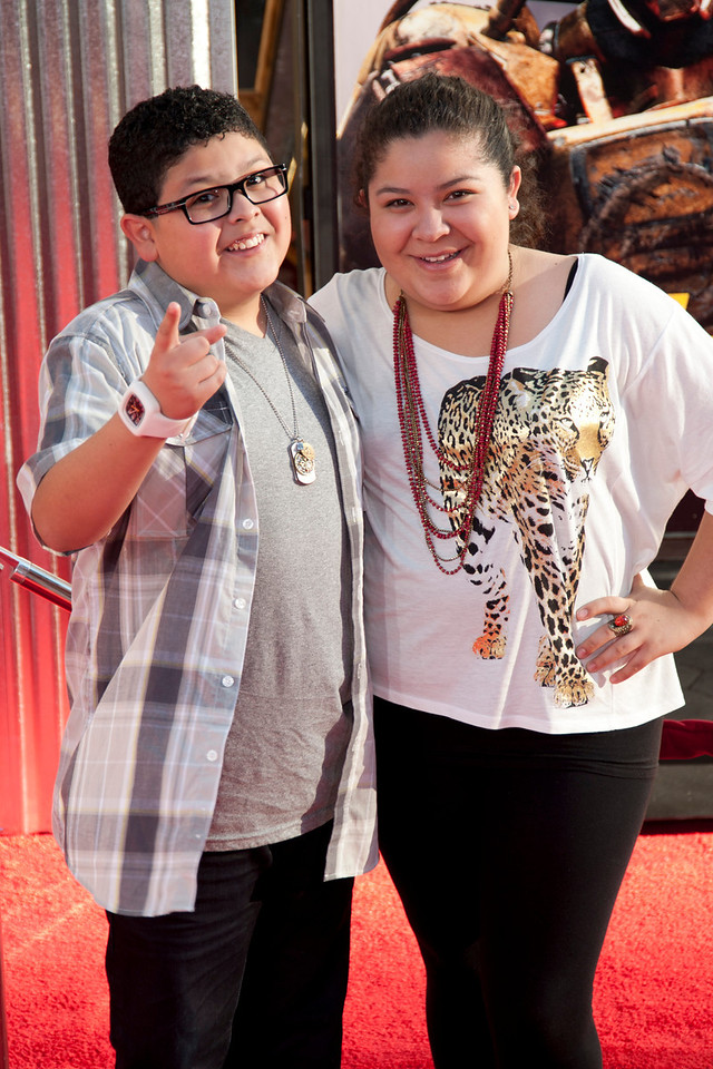UNIVERSAL CITY, CA - OCTOBER 2: Actors Rico Rodriguez and Raini Rodriguez arrive at the World Premiere of 'Real Steel' at the Gibson Amphitheatre on October 2, 2011 in Universal City, California. (Photo by Tom Sorensen/Moovieboy Pictures)