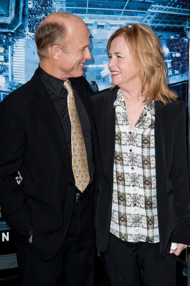 HOLLYWOOD, CA - JANUARY 23: Actor Ed Harris and Amy Madigan arrive at the Los Angeles premiere of 'Man on a Ledge' at Grauman's Chinese Theatre on January 23, 2012 in Hollywood, California. Photo taken by Tom Sorensen/Moovieboy Pictures.