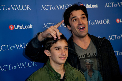 HOLLYWOOD, CA - FEBRUARY 13: Actor Gilles Marini (R) and his son Georges Marini arrive at the premiere of Relativity Media's 'Act Of Valor' held at ArcLight Cinemas on February 13, 2012 in Hollywood, California. Photo taken by Tom Sorensen/Moovieboy Pictures.