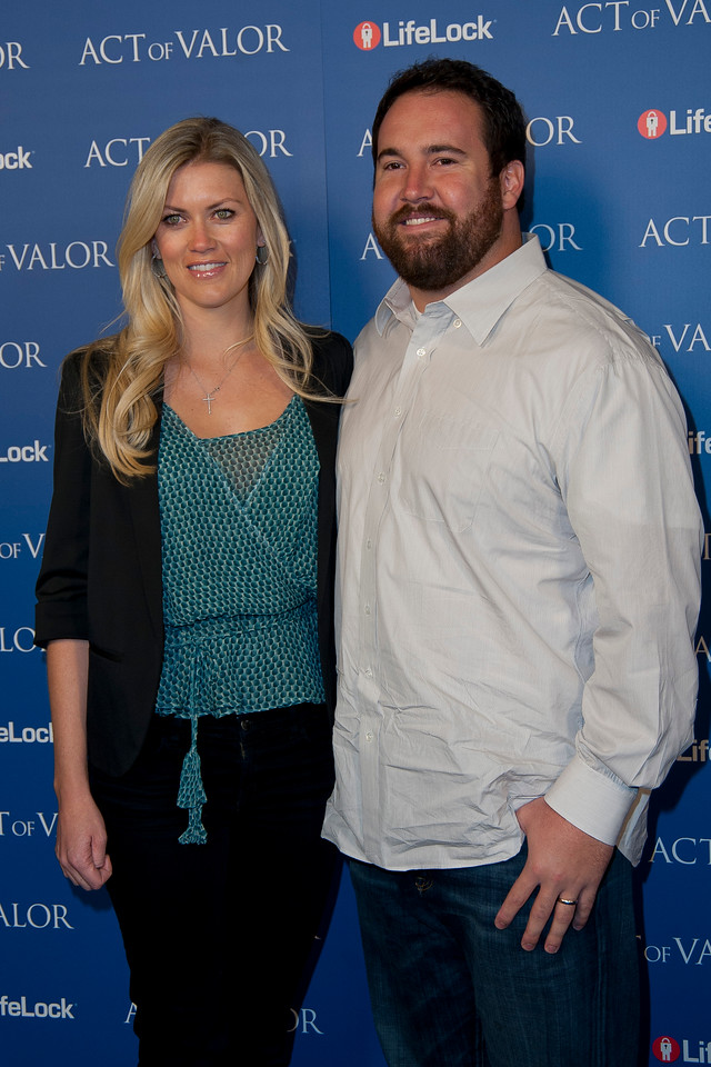 HOLLYWOOD, CA - FEBRUARY 13: NFL Carolina Panther's offensive lineman Ryan Kalil and his wife, Natalie Nelson arrive at the premiere of Relativity Media's 'Act Of Valor' held at ArcLight Cinemas on February 13, 2012 in Hollywood, California. Photo taken by Tom Sorensen/Moovieboy Pictures.